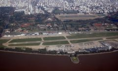 Aeroparque is next to the River Plate and a few minutes drive from downtown Buenos Aires