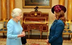 When presenting her credentials to HM Queen Elizabeth