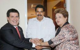 Cartes,Maduro and Dilma during the recent Unasur summit in Paramaribo