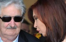 President Mujica and his peer Cristina Fernandez trying to send a message of neighbourly peace