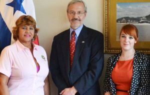 MLA Elsby, Krysteen and the president of the Foreign Affairs Commission Dalia Bernal (L) during the April visit to Panama