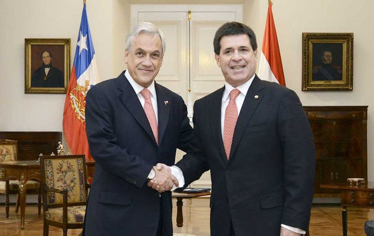 Piñera and Cartes during the private meeting in Government House, La Moneda Palace