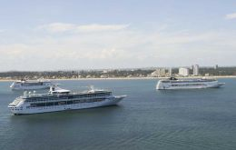 A busy day in Punta del Este with several cruise vessels