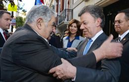 Mujica with Santos after  the meeting in New York