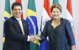 The Paraguayan president with Dilma Rousseff