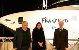 The two leaders in the new vessel named Francis in honour of the Argentine born pope with Buquebus CEO Lopez Mena