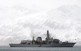 The Type 23 frigate at Grytviken
