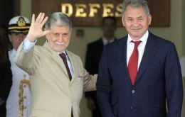 Brazil's Celso Amorim and Russia's Defence Minister Shoigu (Pic AFP)
