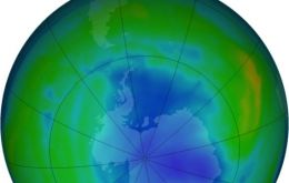 Nasa satellite infrared picture of the south pole and the ozone layer hole