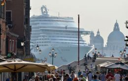 Stunning view of a cruise vessel from St Mark' square