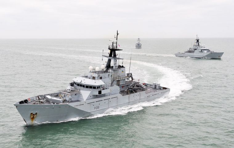 Royal Navy River Class offshore patrol vessels HMS Tyne, HMS Severn and HMS Mersey (MoD pic)