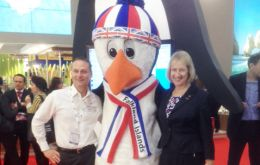 Falklands' representative in London Ms Cameron and Mr. Mason at World Market in London