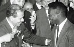 Jango Goulart, receiving the Brazilian team which conquered the 1962 World Cup with Pelé