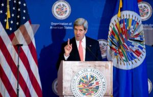 Secretary of State addressing the OAS and calling for partnership (Photo:AP)