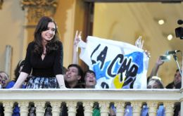 From the balcony of one of the patios Cristina Fernandez addressed the mostly young militants