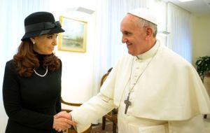 Cristina could never miss a photo with Pope Francis although she loathed Cardinal Bergoglio