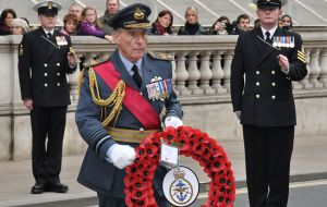 Air Chief Marshal Sir Peter Squire going forward to lay the wreath for Britain's Armed Forces