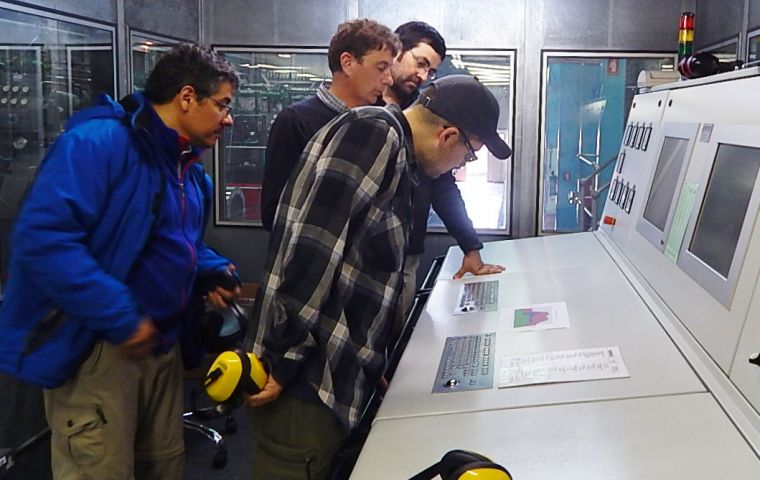 At Power Station control panel for the wind turbines, H.Vidal, Glenn S. Ross, Versalovic, and R.Burgos