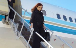 The Argentine president arrived from El Calafate late Monday evening