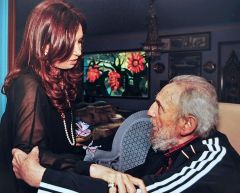 The meeting of Argentine president with Fidel Castro.