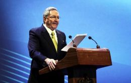 President Raúl Castro as the host reads the Havana Declaration at the closing of the summit