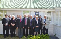 The visiting group with members of the Legislative Assembly outside Gilbert House  (Pic FIG)