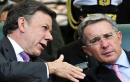 "The Colombian president congratulated Uribe hoping ""we can work together for the country"""