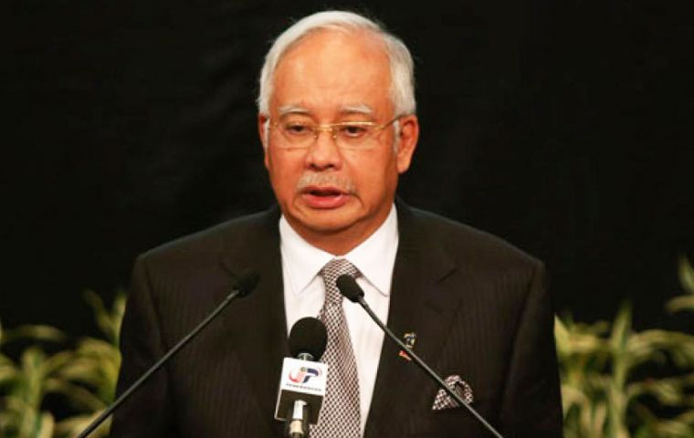 Prime Minister Najib Razak made the announcement while the US Navy dispatched a vessel to locate the aircraft's black box