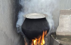 Internal air pollution is caused by people living in homes using wood, coal or dung as the primary cooking fuel