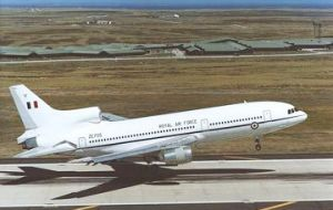 Tristar at Mount Pleasant airfield in the Falkland Islands