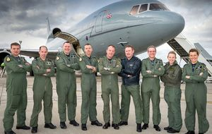 Squadron personnel with a 'Timmy' TriStar aircraft at RAF Brize Norton