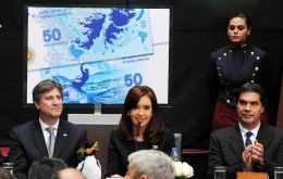 The Argentine president during her 30 minute speech at Malvinas Hall next to her full cabinet