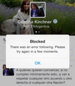 The self blocked Cristina Fernandez twitter account