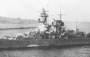 The pocket battleship Graf Spee while in Montevideo