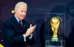 The Vice-president with the World Cup at the State Department