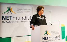 President Rousseff at the opening of the NETMundial conference in Sao Paulo