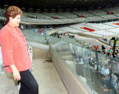 Rousseff on a tour of unfinished stadiums agreed to meet protestors
