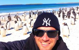 Lee at Bleaker Island with hundreds of gentoos penguins