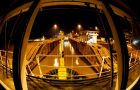 HMS Protector made a night-time journey through the Panama Canal