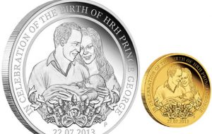 The coin released to mark the birth of HRH Prince George
