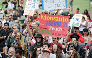 Organized worldwide, peaceful family protests spoke out for the need to protect food supply, health, local farms and environment