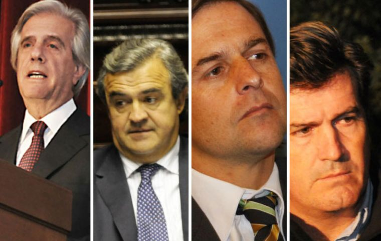 Former president Vázquez; National party hopefuls Larrañaga and Lacalle Pou; Colorado party leader Pedro Bordaberry