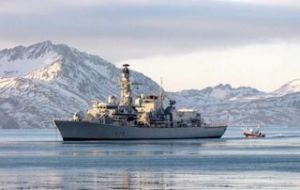 The South Atlantic patrol also visited Grytviken in South Georgia, 850 miles from the Falklands  (Pic MoD)