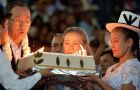 """The Bolivian people will never forget your visit,"" Morales told Ban in front of hundreds gathered for the presentation of the cake"