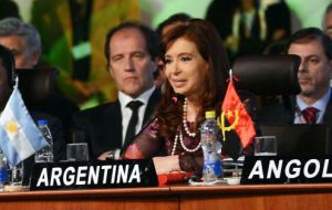 Cristina Fernández attended the two-day summit which also included UN Ban Ki moon