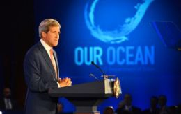 "The message was delivered in a taped message from Obama and in person by Kerry at an ""Our Ocean"" conference in Washington"