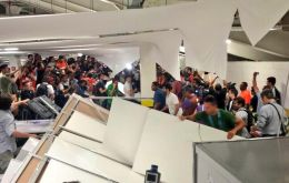 Hooligans broke into the press center of the Maracaná stadium minutes before the Chile/Spain match  (Pic BBC)