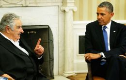Mujica with Obama at the White House during last month's visit to Washington