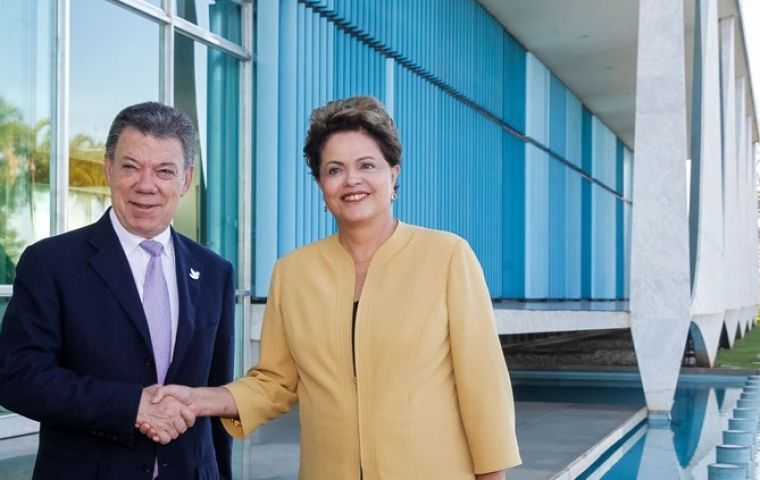 Closer links between the Pacific Alliance and Mercosur can make them stronger, said the presidents at the Alvorada Palace