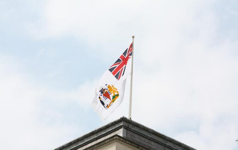 The flag flying above the Foreign Office in London